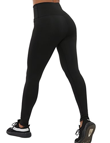 CHRLEISURE Yoga Pants for Women - High Waisted Leggings with 2 Pockets, Tummy Control, Ruched Butt Capris Leggings