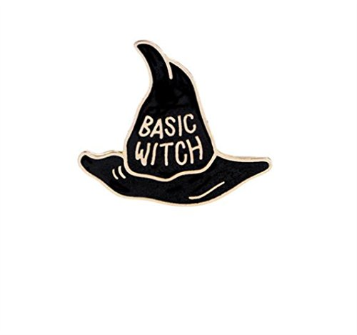 Yingealy Fashion Keyrings Keychain Vintage Witch Magic Hat Brooch Badge Button Clothes Accessories(Gold)