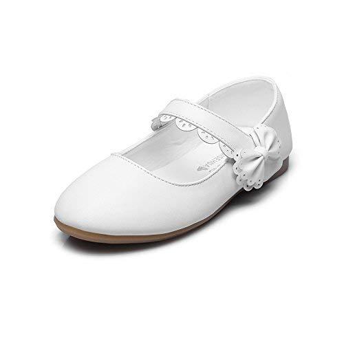 (Girls Mary Jane Bow Side Strap Ballerina Flat,White,Toddler,8.5M)