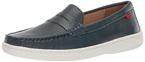 Marc Joseph New York Genuine Leather Boys/Girls Casual Comfort Slip On Moccasin Loafer Shoes Driving Style, jeans grainy 13 M US Little ()