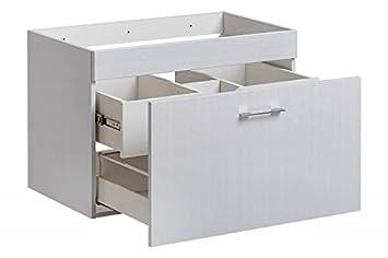 Waschbeckenunterschrank U0027Majän W80u0027 Waschtisch Waschbecken Badmöbel Weiß  Hochglanz, Unterschrank:Majän80 Ohne Waschbecken
