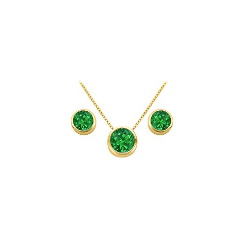 May Birthstone Emerald Pendant and Stud Earrings Set in 18K Yellow Gold Vermeil