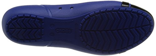 Crocs Cap Toe Flat - Zuecos de material sintético mujer - Cerulean Blue/Black