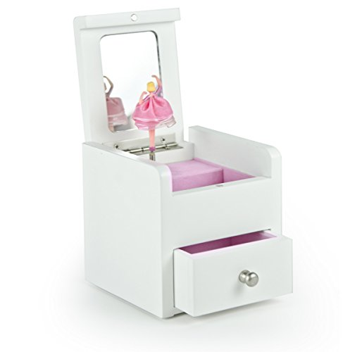 Matte White 18 Note Ballerina Musical Jewelry Box With Pull Out Drawer - Customizable - Fountain of Love - SWISS (+$45) by MusicBoxAttic (Image #1)