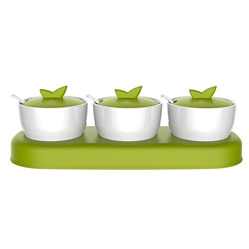 zova Ceramic Condiment Spice Jars Seasoning Box with Lid, Serving Spoon and Tray, Set of 3, White & Green by MR.SIGA (Image #1)