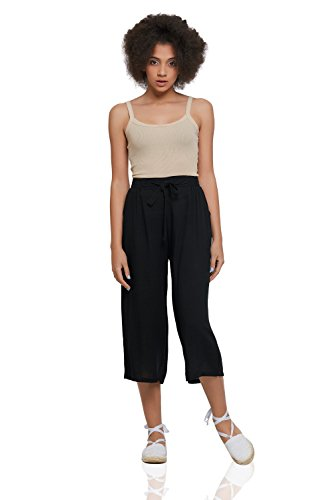 Cotton Culottes With Pockets Wide Leg Cropped Pants High Waist Loose Flowy Capris (Medium, Black) (Capri Cropped Tie)