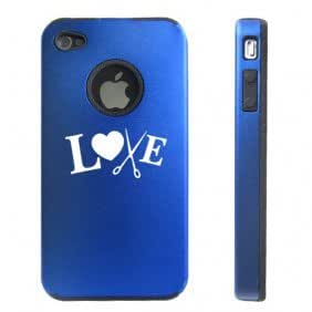 Apple iPhone 4 4S 4 Blue D4913 Aluminum & Silicone Case Cover Love Crafts Hair Stylist