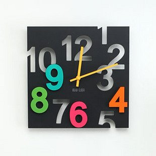 JustNile Modern Creative Square 12-inch Wall Clock - 3D Black Number Cut-Out