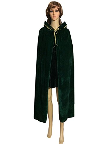 Obi Wan Kenobi Costume Pattern (LETSQK Velvet Hooded Cloak Unisex Halloween Costume Party Cape Role Cosplay Green M)