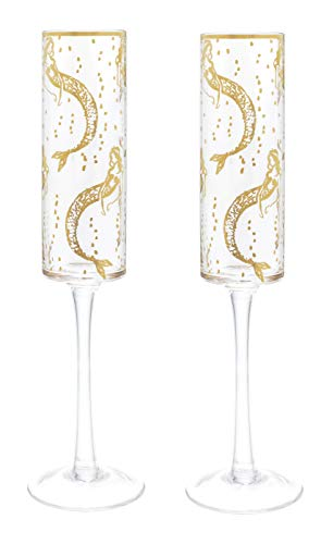 Lilly Pulitzer Glass Champagne Flutes with Gold Accents, Set of 2, Mermaids Cove