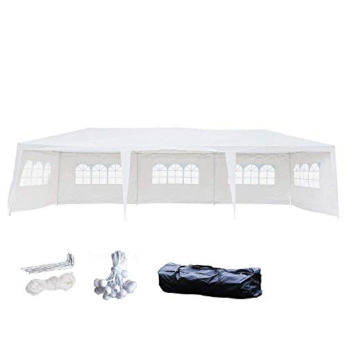 Crazyworld 10' x 30' Outdoor Canopy Wedding Party Tent w/ 5 Removable Sidewalls, Upgraded Thicken Tube Gazebo Pavilion Patio Garden Catering Event Backyard,Bonus Portable Carrying Bag ()