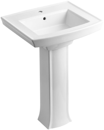 KOHLER K-2359-1-0 Archer Pedestal Bathroom Sink with Single-Hole Faucet Drilling, White - Faucet Holes Pedestal