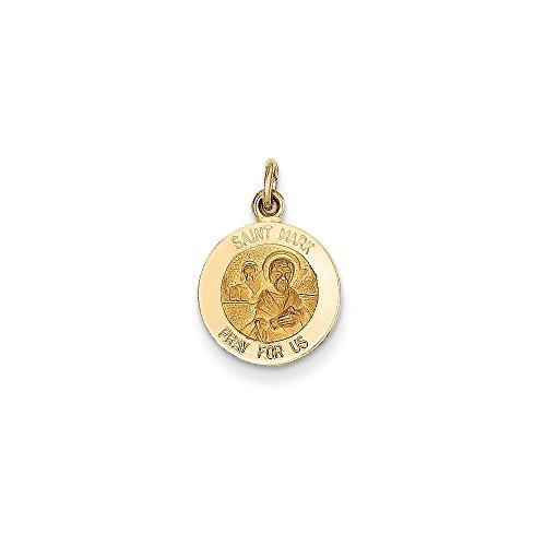 14k Yellow Gold Solid Engravable Polished back Polished and satin Saint Mark Medal Charm