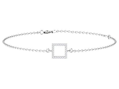 Or Blanc 14 ct Bracelet Diamant en forme de carré, 0.1 Ct Diamant, GH-SI, 1.23 grammes.