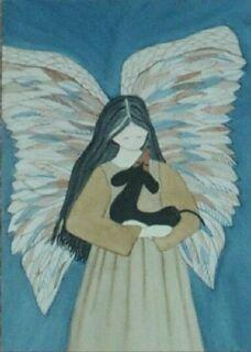Black Dachshund (doxie) and angel / Lynch folk art print ()