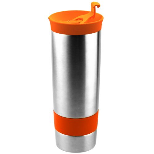 Asobu The Hot coffee and tea press Vacuum Insulated Travel Mug, 16 ounce, Stainless Steel, Orange (Orange Press Stainless compare prices)