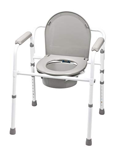 - MediChoice Commode Chair, Height Adjusts from 17 In-23 in,1 Inch Increments, Includes Pail w/Cover and Splash Shield, 300 lb, 2867COMM7001 (Each of 1)