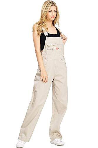 Bib Khaki - Revolt Women's Juniors Baggy Straight Leg Twill Overalls (L, Fresh Khaki)