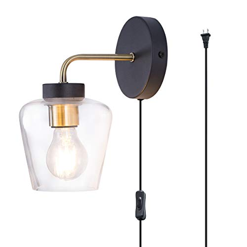 TeHenoo Minimalist Wall Light Sconce Glass Wall Light Industrial Edison Wall Lamps Retro Wall Bedroom Stair Lamps E26 Base