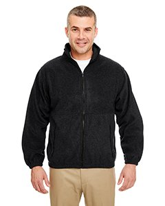 (UltraClub Men's Iceberg Fleece Full-Zip Jacket - Black - Large)