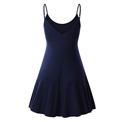 XL S Optionnel Navy pour Robe Fleurs Robe Femme Sans d't Fenteer Couleur Bretelles S Ajustable Manches OPnZqp