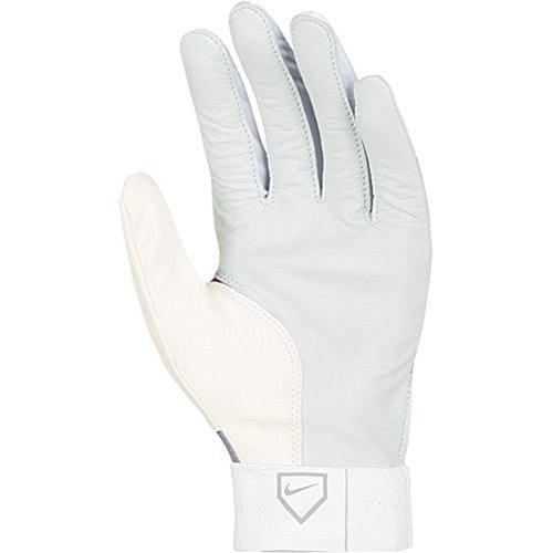 Nike Diamond Elite Show Youth Baseball Batting Gloves - Size: Medium, White/Pewter