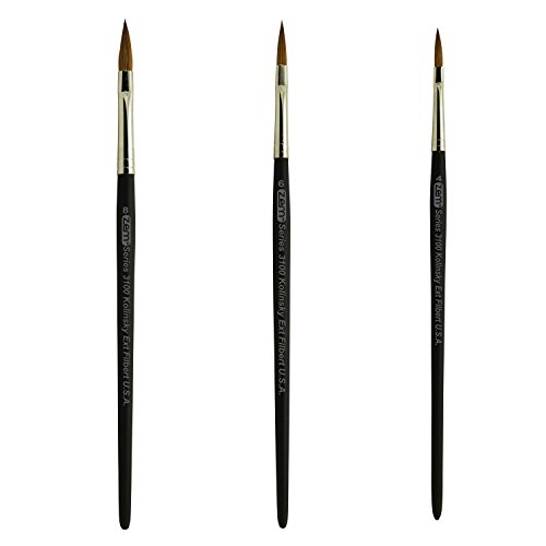 Filbert Sable Red Pure - Kolinsky Pure Sable Artist Brush Set Extended Filberts Sizes 4,6,8