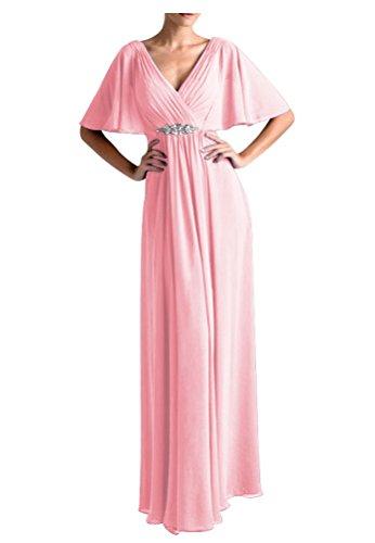WeiYin Women's Chiffon Flutter Sleeve Long Evening Dress Mother of the Bride Dresses Pink US 16