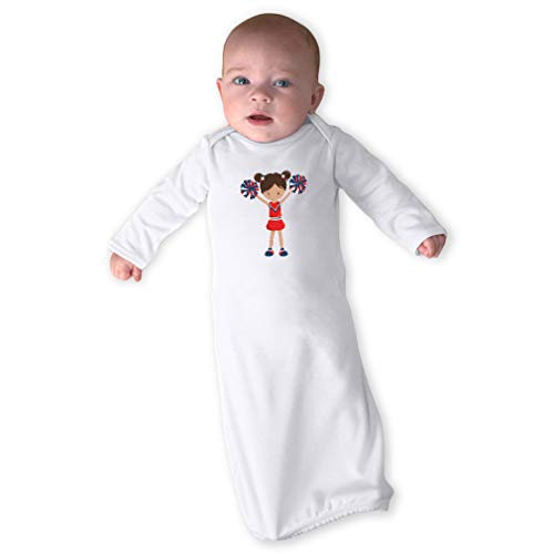 - Cheerleader Two Hands Up S Red Long Sleeve Envelope Neck Boys-Girls Cotton Newborn Sleeping Gown One Piece - White, Gown & Hat Set