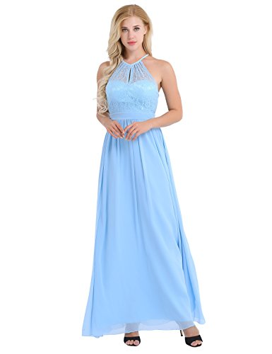(CHICTRY Women's Halter Lace Crochet A-Line Chiffon Floor-Length Bridesmaid Dress Light Blue 16)