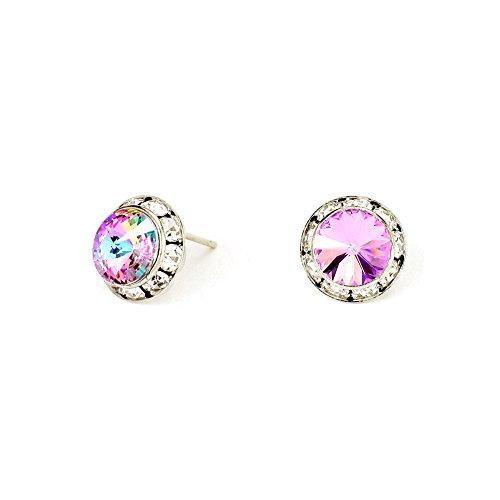 - Light Vitrail Austrian Crystal Bezeled Post Earrings