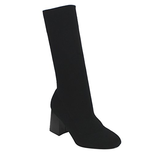 Beston EI86 Women's Pull On Stacked Block Heel Stretchy Mid-Calf Knit Sock Boots, Color:BLACK, Size:10 Chunky Knit Boot