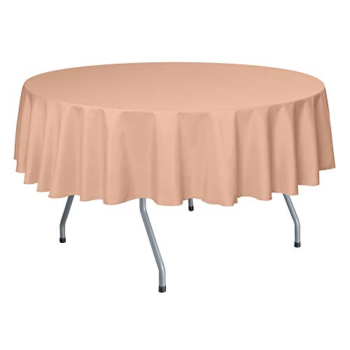 Ultimate Textile -2 Pack- 72-Inch Round Polyester Linen Tablecloth, Peach