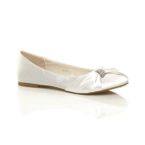 Femmes Ballerines Bal d'honneur Chaussures de Plats Soir Mariage Demoiselle Ajvani Promo Pointure Blanc FWOqpq