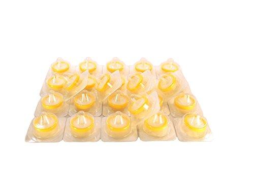 SEOH Syringe Filter Sterile Yellow PVDF Membrane 25mm Diameter 0.2 um Pore Size Pack of 25 by SEOH