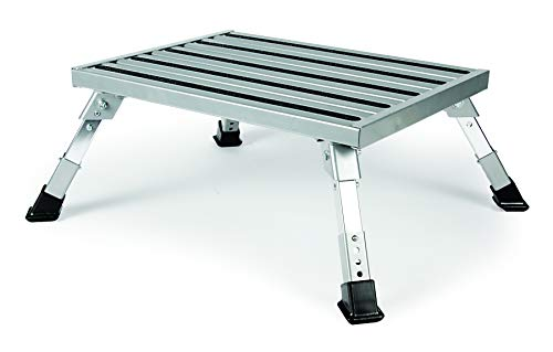 - Camco Adjustable Height Aluminum Platform Step-Supports Up to 1,000lbs, Includes Non-Slip Rubber Feet, Durable Construction, Easy Storage and Transport (43676)