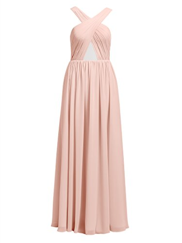 Backless Chiffon Alicepub Strap Prom Bridesmaid Cross Long Party Homecoming Pearl Evening Dresses Pink Gowns 5wFwpgq