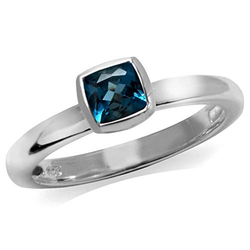 Genuine Cushion Cut London Blue Topaz 925 Sterling Silver Stack/Stackable Solitaire Ring Size 7