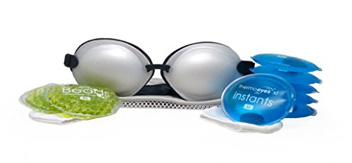 Tranquileyes XL Advanced for Severe Dry Eye Relief - Warm Compress with Microwavable Beads and Self-Activating Instants (Pearl)