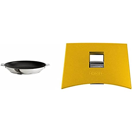 Cristel Strate P20QLE Fryingpan 8 Silver With Cristel Mutine Spplmaj Set Of Handles Yellow