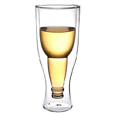 - easygoal-Upside Down Beer Bottle Style Double Walled Glass Cup