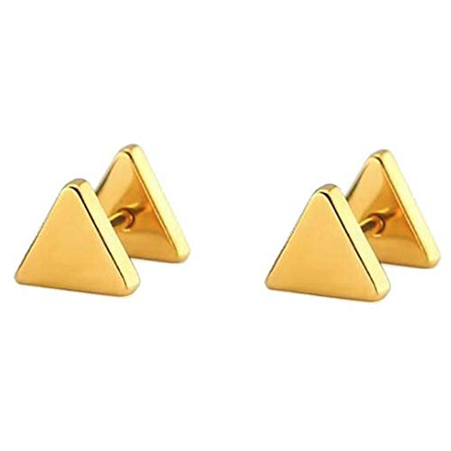 Stainless Steel Geometric Shape Classical Simple Plain Stud Earrings (Gold Triangle) ()
