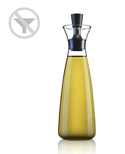 No Funnel Needed Olive Oil & Vinegar Dispenser Glass Bottle for Kitchen | Airtight Silicone Cap Keeps Oil Fresh Longer | 17 ounce cruet (Clear)
