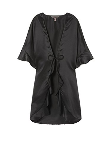 ry Sexy Satin Slip Wrap Kimono Robe Black One Size ()
