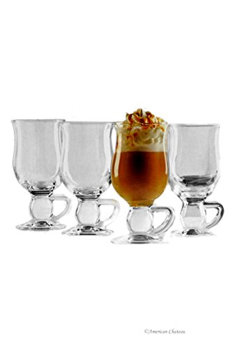 Set 4 Clear Glass Ball Handle Mug Footed - Glass Pedestal Coffee Mugs