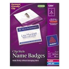 Inkjet Badge Holder Kit - AVERY 5384 Badge Holder Kit w/Laser/Inkjet Insert, Top Load, 3 x 4, White, 40/Box