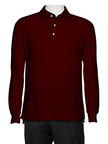 Shirt Collar Polo Pique - AKA Men's Solid Polo Shirt Classic Fit - Pique Chambray Collar Comfortable Quality Burgundy-Long Sleeve 3X