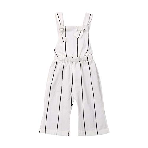 Toddler Baby Girls Halter Romper, Kids Sleeveless Striped Bell-Bottom Jumpsuit Pants Overalls Outfits