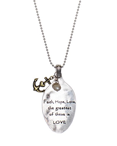 Jewelry Nexus Corinthians 13:13 Scripture Stamped Spoon Head Pendant Faith, Hope, Love Charm Necklace -