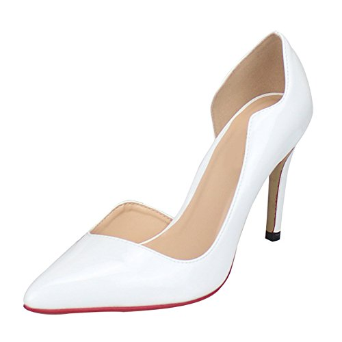 Fereshte Unisex Donna Crossdresser Drag Queen Slip On Dorsay Tacchi A Spillo Partito Pompe Bianche
